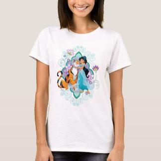 Princess Jasmine & Rajah Floral 2 T-Shirt