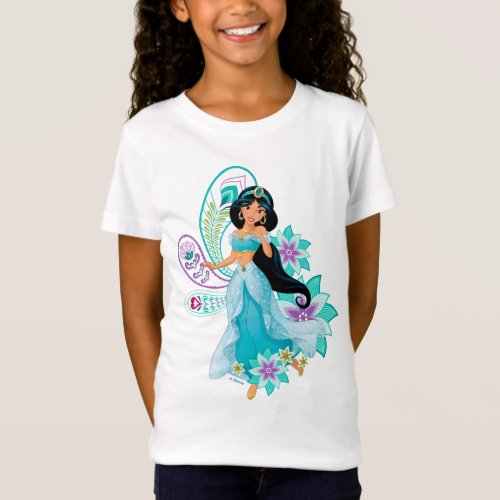 Princess Jasmine with Feathers  Flowers T_Shirt