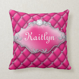 Princess Jewelry Pillow Tufted Satin Diamond Pink
