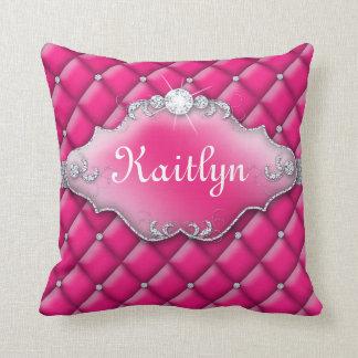 Princess Jewelry Pillow Tufted Satin Diamond Pink