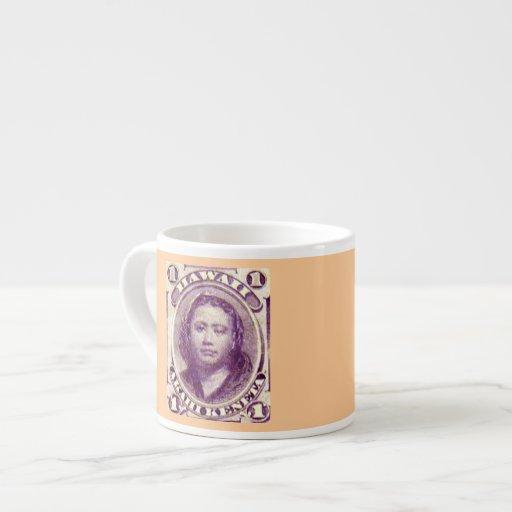 Princess Kamamalu Kingdom of Hawaii Stamp Espresso Cups