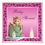 Princess Kitten Pink Faux Leopard Fur Baby Shower Invites