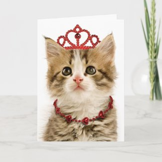Princess Kitten Valentine's Day Card