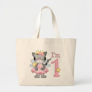 Princess Kitty 1st Birthday Large Tote Bag