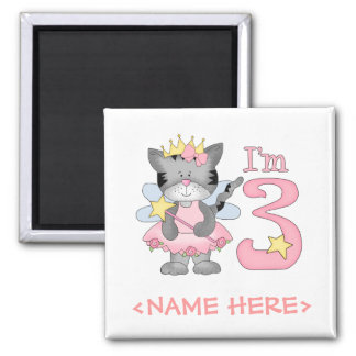 Princess Kitty 3rd Birthday 2 Inch Square Magnet