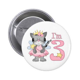 Princess Kitty 3rd Birthday Buttons