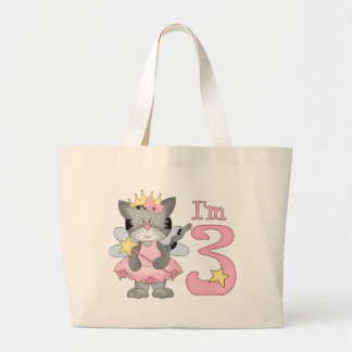Princess Kitty 3rd Birthday Large Tote Bag