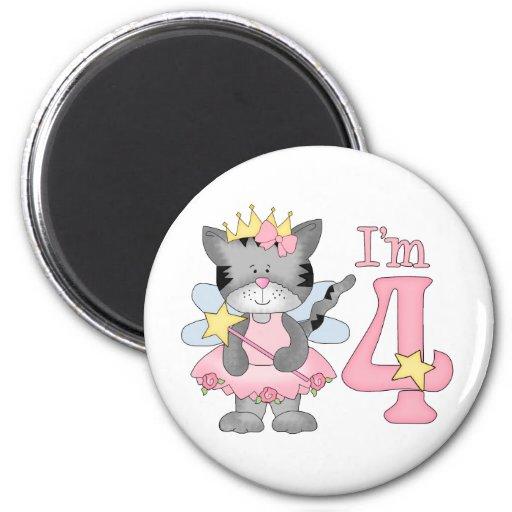 Princess Kitty 4th Birthday 2 Inch Round Magnet
