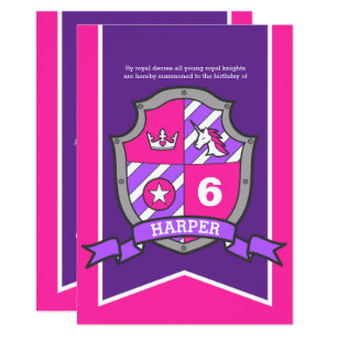 Princess Knights Shield Kids 6th Birthday Invites