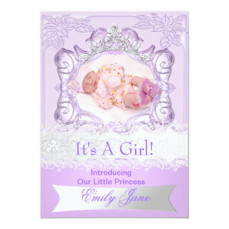 Princess Lilac New Baby Girl Anouncement Photo Card