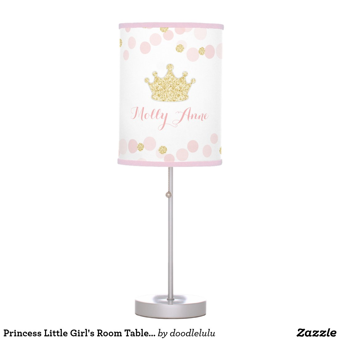 Princess Little Girl's Room Table Lamp Pink Gold