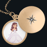 """Princess Locket Necklace for Girls<br><div class=""""desc"""">Beautiful necklace with a princess illustration,  brunette version. Great for young girls,  children and the young at heart who still believe in fairytales…You can choose your style in silver or gold.  More princesses styles are available at the front shop. More princesses styles are available at the front shop.</div>"""