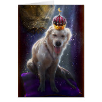 princess, portrait, surreal, dog, coat, fantasy, golden, golden retriever, pillow, crown, pet, cute, illustration, fairytale, flies, fairy, fairies, faery, faerie, bestseller, best selling, animals, Card with custom graphic design