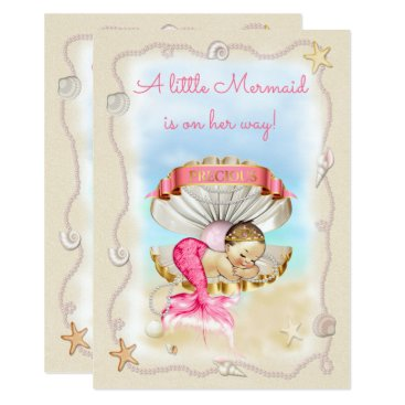 Beach Themed Princess Mermaid Clam Shell Baby Shower Card