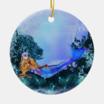Princess Mermaid Double-Sided Ceramic Round Christmas Ornament