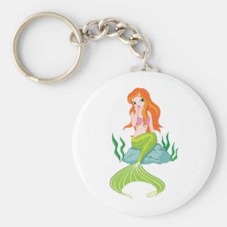 princess-mermaid basic round button keychain