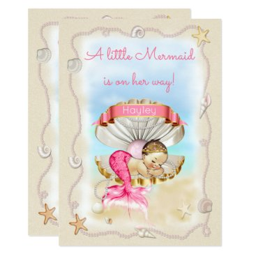 Toddler & Baby themed Princess Mermaid Name on Clam Shell Baby Shower Card
