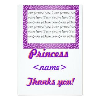 Princess Mini Hearts Fifth Birthday Party Thank Yo Card