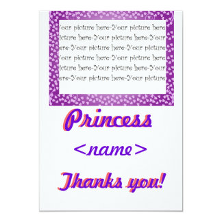 Princess Mini Hearts Third Birthday Party Thank Yo Card