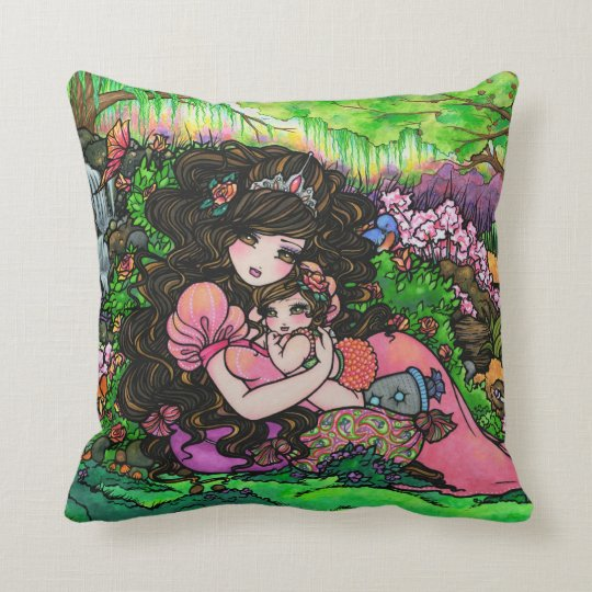 Princess Mom & Baby Fantasy Fine Art Pillow