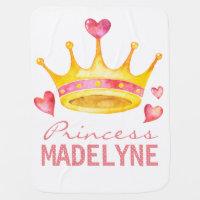 Princess Monogrammed Any Girls Name | Custom Tiara Swaddle Blanket