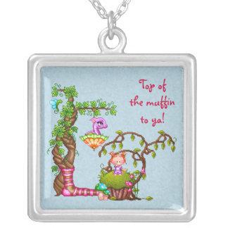 Princess Muffin & Friends Pixel Art Square Pendant Necklace