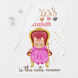 Princess (NAME) Is The Cats Meow Girls Pink Shower Baby Blanket