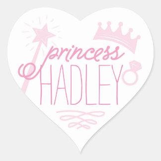 Princess Name Label Heart Sticker