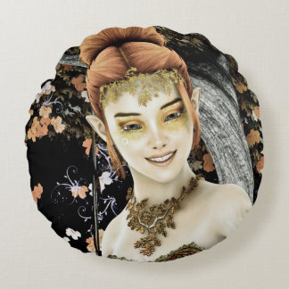 Princess of Autumn Round Pillow