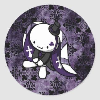 Princess of Clubs White Rabbit Classic Round Sticker