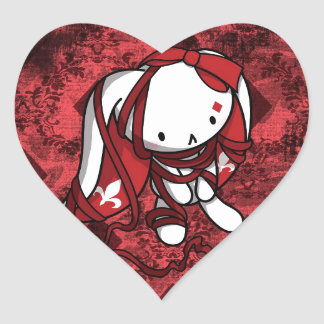 Princess of Diamonds White Rabbit Heart Sticker