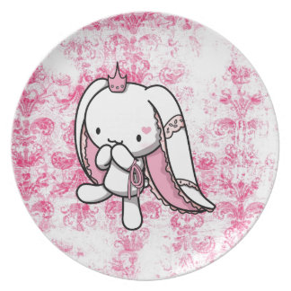 Princess of Hearts White Rabbit Dinner Plate