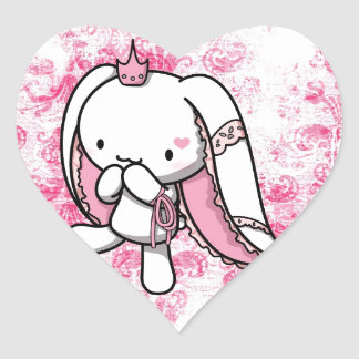 Princess of Hearts White Rabbit Heart Sticker