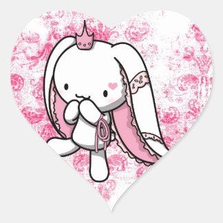Princess of Hearts White Rabbit Heart Sticker