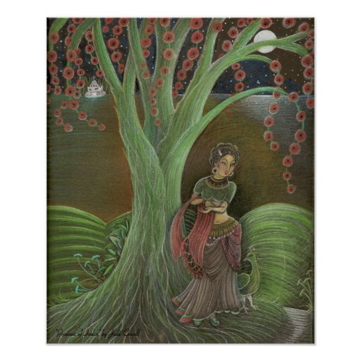 'Princess of India' Art Poster bronze matte uv