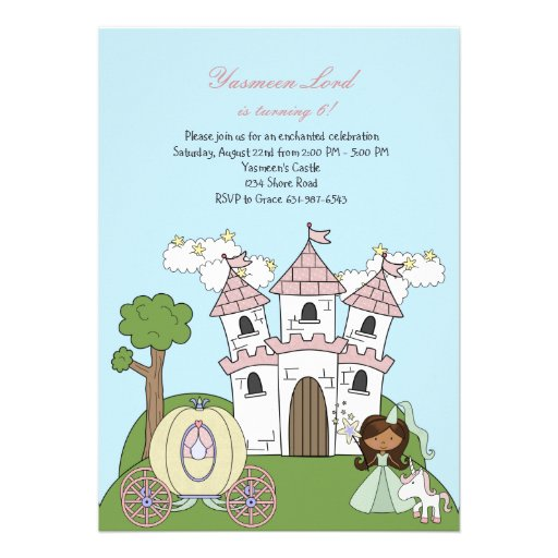 Princess of the Castle African American Invitation