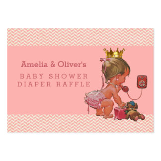 Princess on Phone Chevrons Diaper Raffle Large Business Card