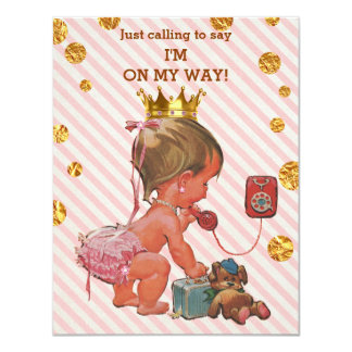Princess On Phone Stripes Gold Spots Baby Shower Card