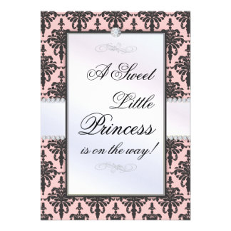 Princess on the Way Elegant Damask Baby Shower Custom Announcements