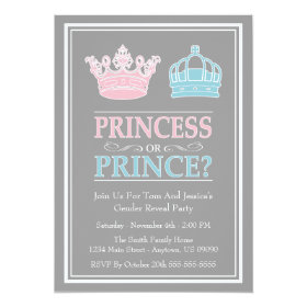 Princess Or Prince Gender Reveal Party Invitations 5