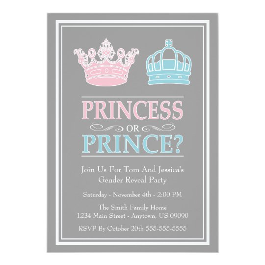 princess or prince gender reveal party invitations - Gender Reveal Party Invites