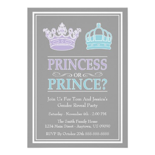 Princess Or Prince Gender Reveal Party Invitations