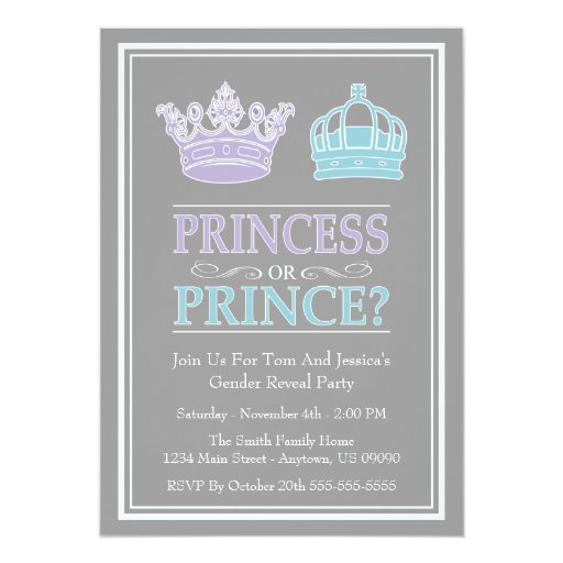 """Princess Or Prince Gender Reveal Party Invitations 5"""" X 7 ..."""