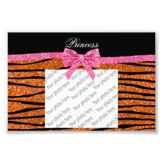 Princess orange glitter zebra stripes pink bow photo print