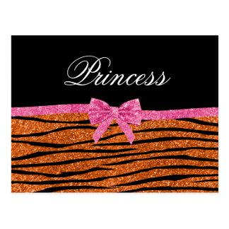 Princess orange glitter zebra stripes pink bow post card