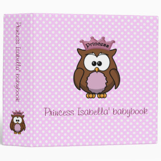 Princess owl 3 ring binder