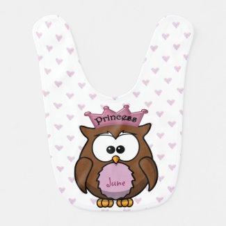 princess owl baby bib