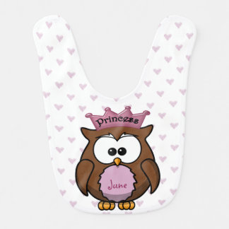 princess owl baby bibs