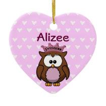 princess owl ceramic ornament