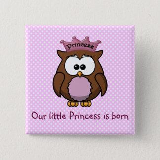 Princess owl pinback button